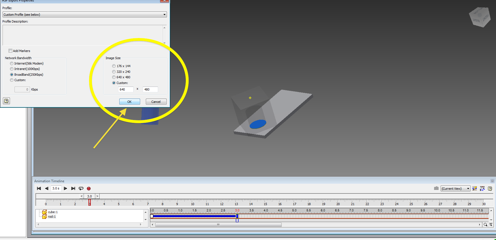 Inventor animation tutorial mae3 upon pressing ok the video will start processing note the frame count and the remaining time depending on the computer and the complexity of the animation baditri Gallery